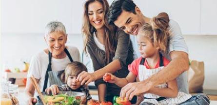 family preparing dinner together